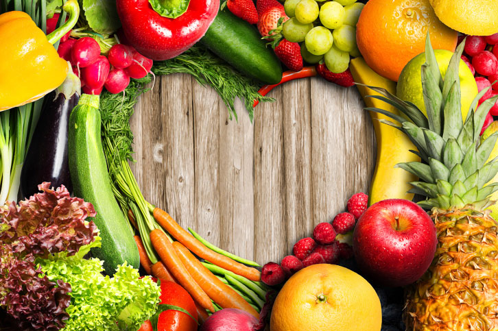 Fruits and Veggies in Heart Shape
